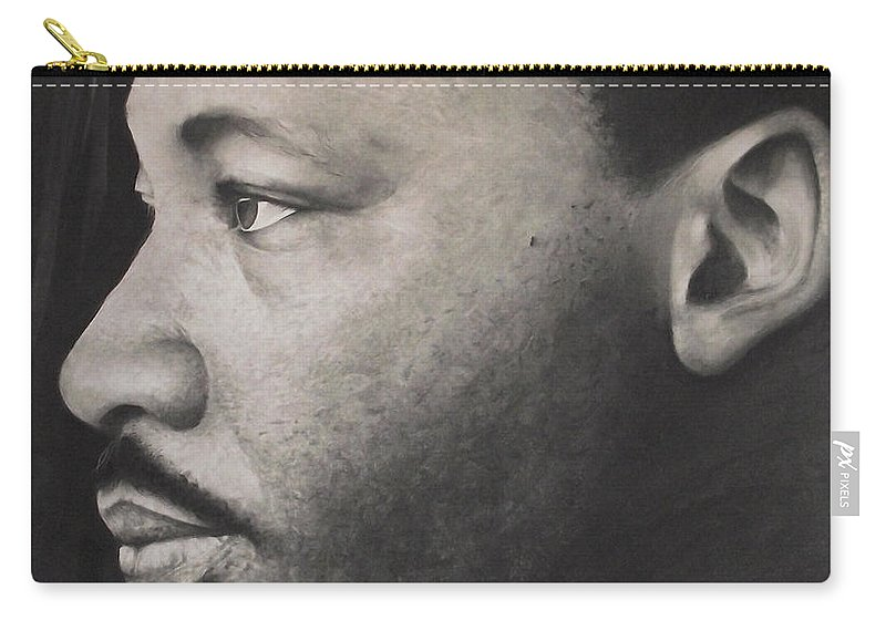 Martin Luther King Jr Carry-all Pouch featuring the drawing Dr. Martin by Adrian Pickett