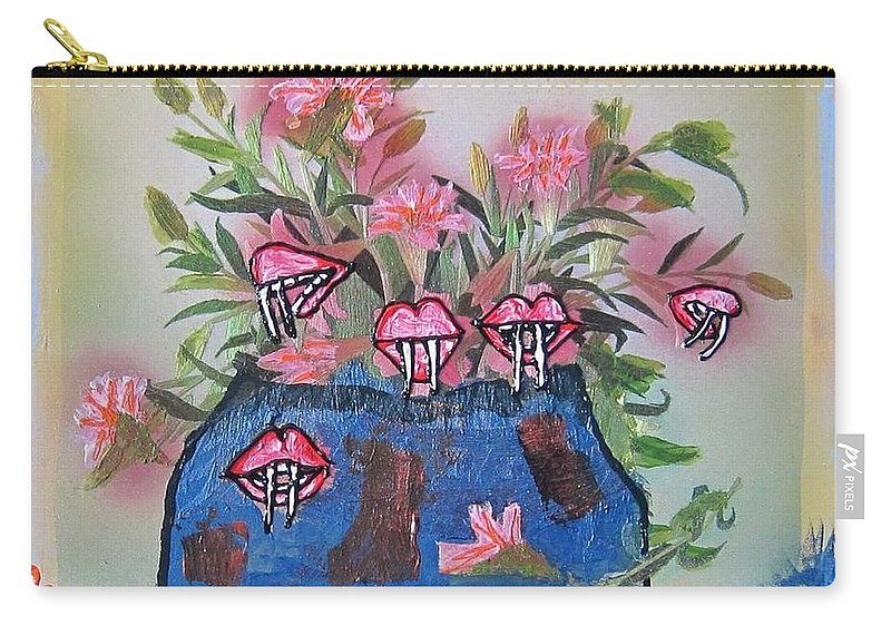 Flowers Carry-all Pouch featuring the painting Dracula Vampira Orchid by Lisa Piper