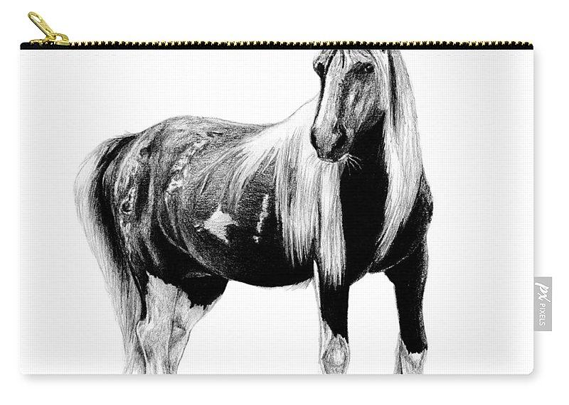 Draft Carry-all Pouch featuring the drawing Draft Horse by Kayleigh Semeniuk