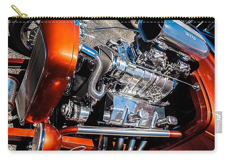 Chrome Carry-all Pouch featuring the photograph Drag Queen - Hot Rod Blown Chrome by Steven Milner