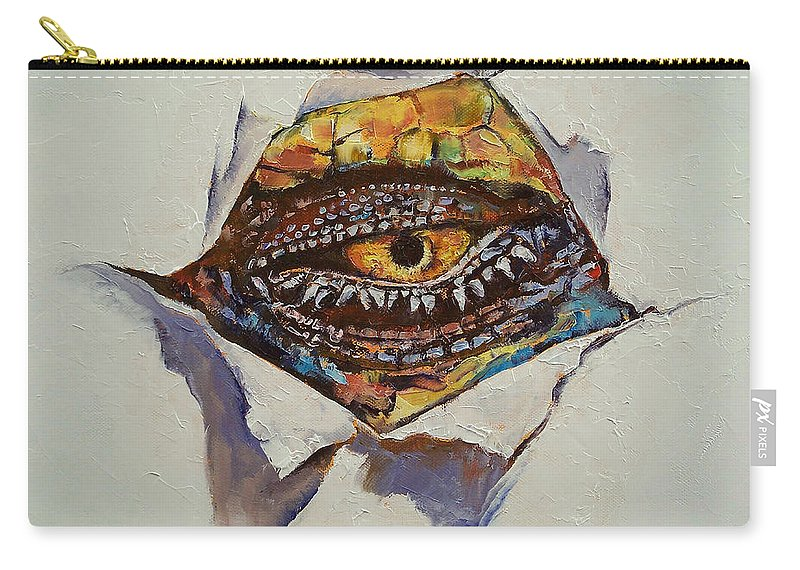 Dragon Eye Carry-all Pouch featuring the painting Dragon Eye by Michael Creese