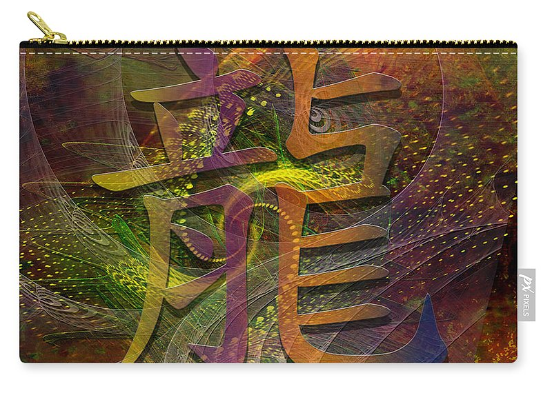 Dragon Carry-all Pouch featuring the digital art Dragon - Square Version by John Robert Beck