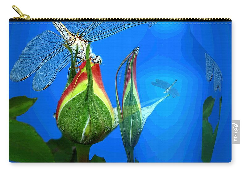 Dragonfly Carry-all Pouch featuring the photograph Dragonfly And Bud On Blue by Joyce Dickens
