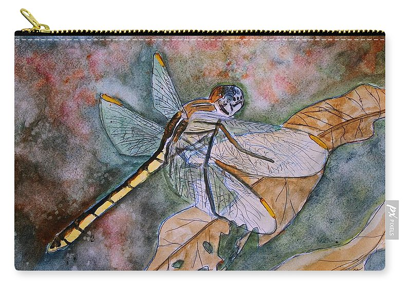 Dragonfly Carry-all Pouch featuring the painting Dragonfly by Derek Mccrea