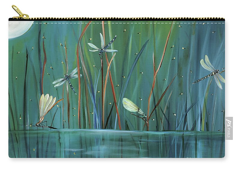 Dragonfly Carry-all Pouch featuring the painting Dragonfly Diner by Carol Sweetwood