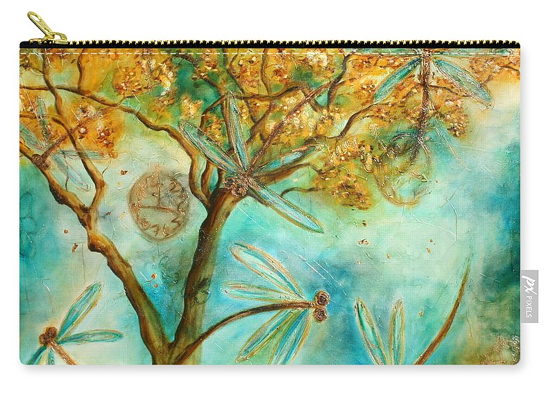 Dragonflies Carry-all Pouch featuring the painting Dragonfly Flirtation by Lyndsey Hatchwell