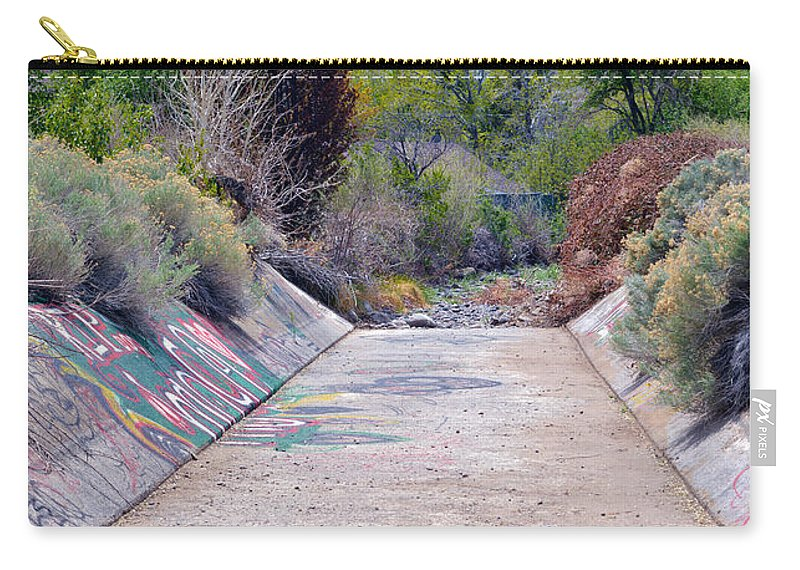 Memorial Carry-all Pouch featuring the photograph Drain Ditch Graffiti by Brent Dolliver