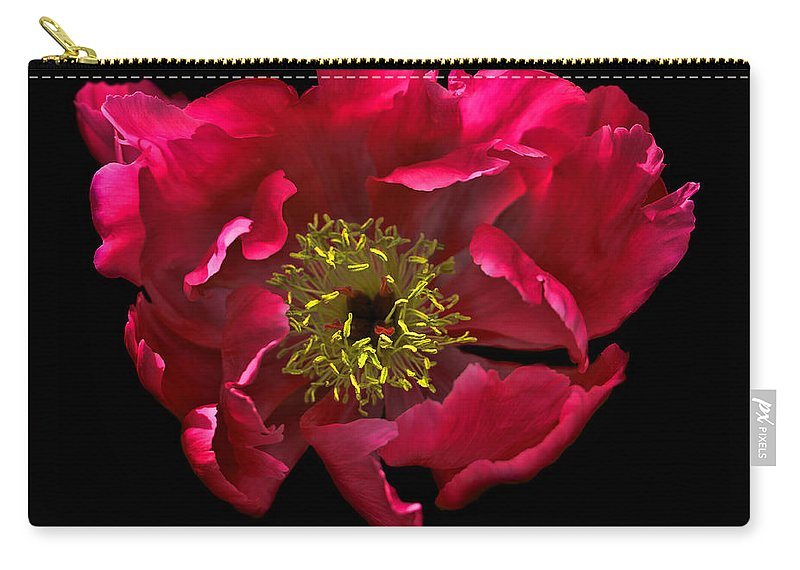 Peony Carry-all Pouch featuring the photograph Dramatic Red Peony Flower by Jennie Marie Schell