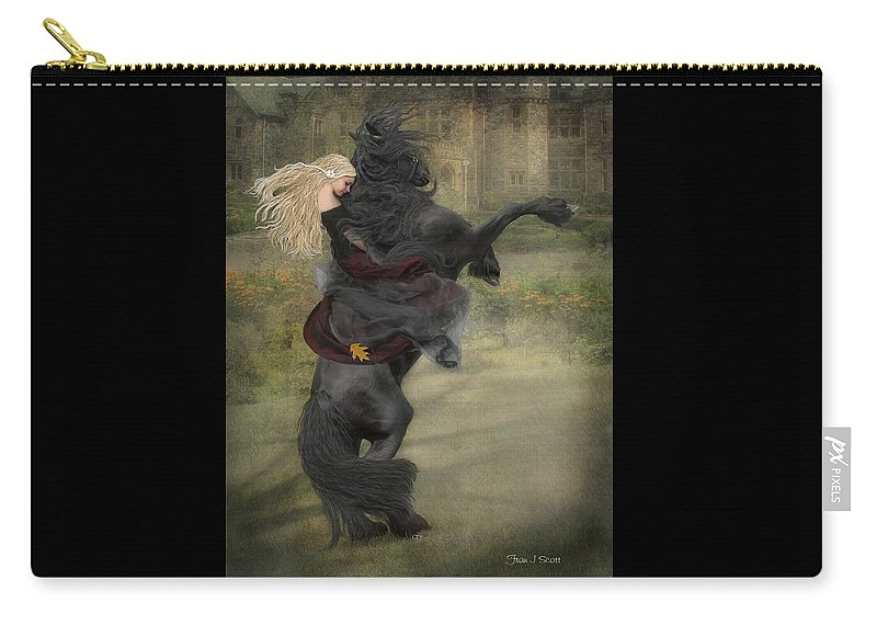 Horses Carry-all Pouch featuring the mixed media Dream a little dream... by Fran J Scott
