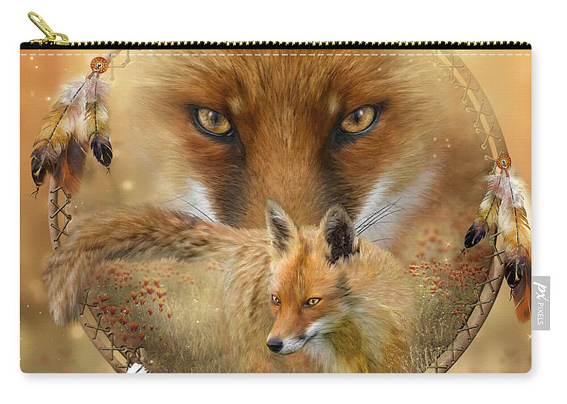 Carol Cavalaris Carry-all Pouch featuring the painting Dream Catcher- Spirit Of The Red Fox by Carol Cavalaris