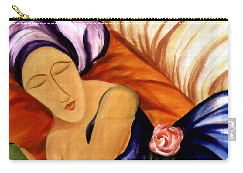 #female Carry-all Pouch featuring the painting Dream by Jacquelinemari
