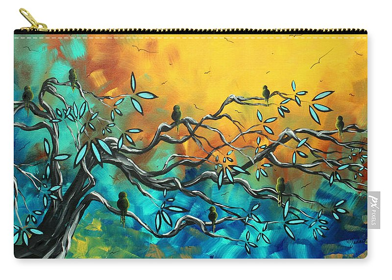 Art Carry-all Pouch featuring the painting Dream Watchers Original Abstract Bird Painting by Megan Duncanson