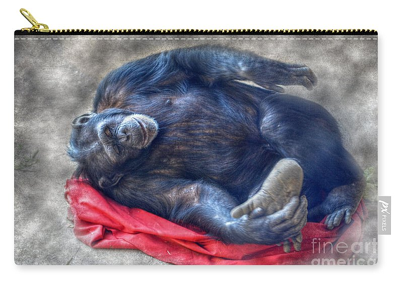 Landscape Carry-all Pouch featuring the photograph Dreaming Of Bananas Chimpanzee by Peggy Franz