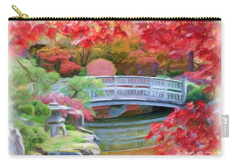 Impressionism Carry-all Pouch featuring the photograph Dreaming Of Fall Bridge In Manito Park by Carol Groenen