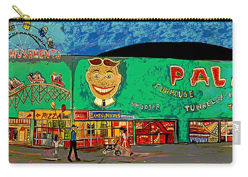 Asbury Park Palace Carry-all Pouch featuring the painting Dreams of the Palace by Patricia Arroyo