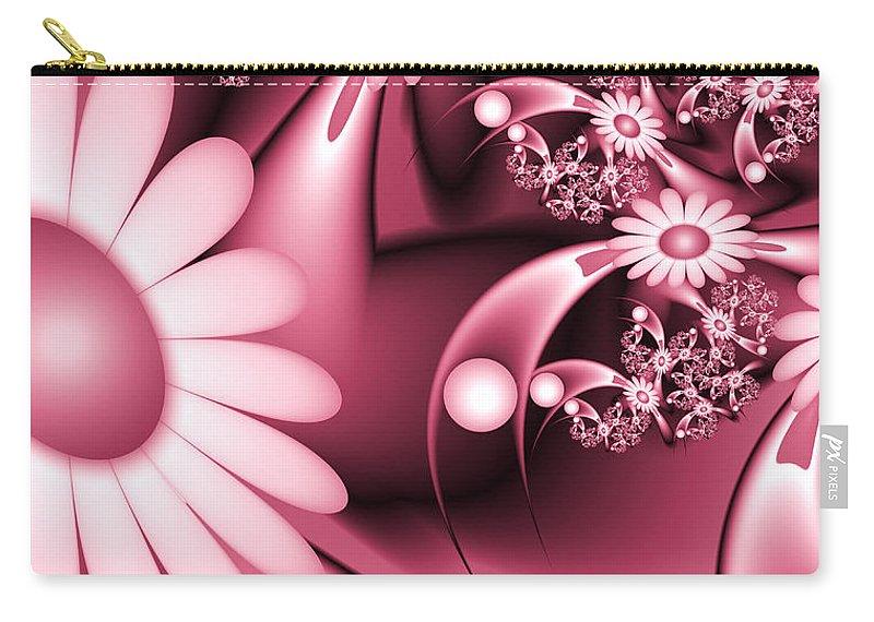 Digital Art Carry-all Pouch featuring the digital art Dreamy Flower Garden by Gabiw Art