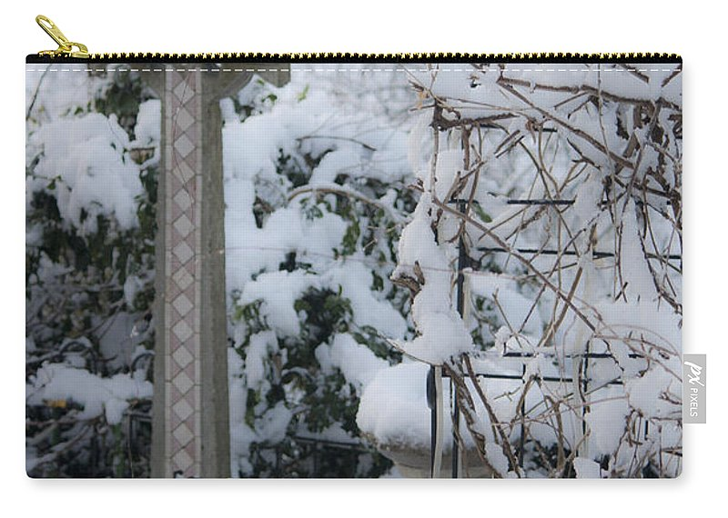 Dreamy Carry-all Pouch featuring the photograph Dreamy Snowy Cross by Teresa Mucha