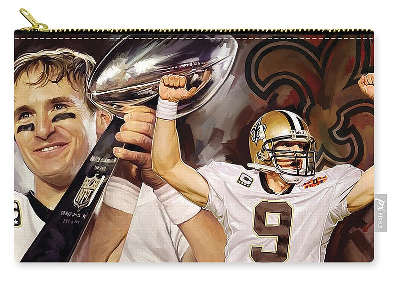 Drew Brees Paintings Carry-all Pouch featuring the painting Drew Brees New Orleans Saints Quarterback Artwork by Sheraz A