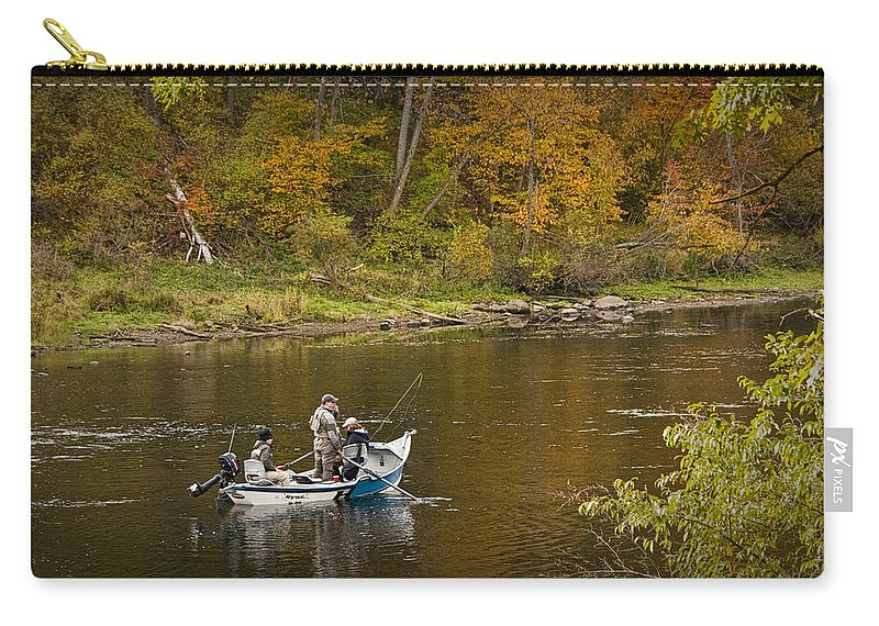 Art Carry-all Pouch featuring the photograph Drift Boat Fishermen On The Muskegon River by Randall Nyhof
