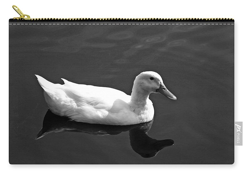 Duck Carry-all Pouch featuring the photograph Driftin' Duck - Bw by Pamela Critchlow