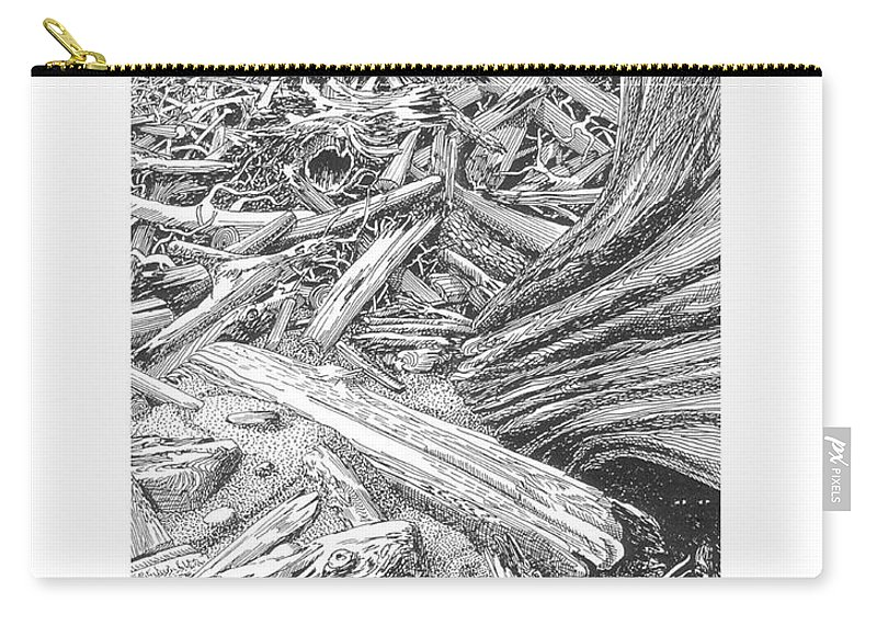 Find The Critter? Carry-all Pouch featuring the drawing Critter In The Driftwood by Jack Pumphrey