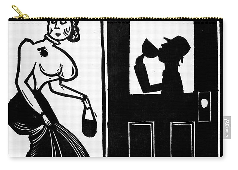 1925 Carry-all Pouch featuring the photograph Drinking, C1925 by Granger