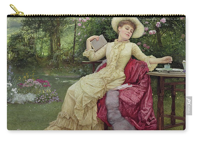 Victorian Carry-all Pouch featuring the painting Drinking Coffee And Reading In The Garden by Edward Killingworth Johnson