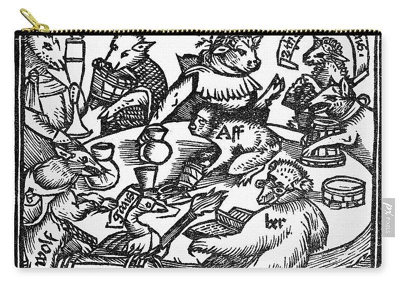 1516 Carry-all Pouch featuring the painting Drinking Party, 1516 by Granger