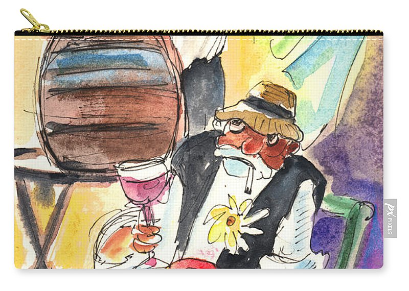 Travel Carry-all Pouch featuring the painting Drinking Wine In Lanzarote by Miki De Goodaboom