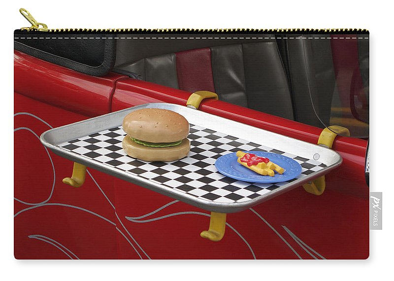 Classic Car Carry-all Pouch featuring the photograph Drive In Recalled by Ann Horn