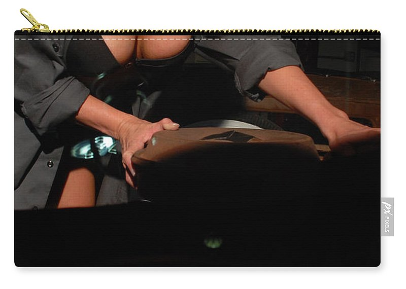 1930 Carry-all Pouch featuring the photograph Drivers View Of A Pinup Girl by Jt PhotoDesign