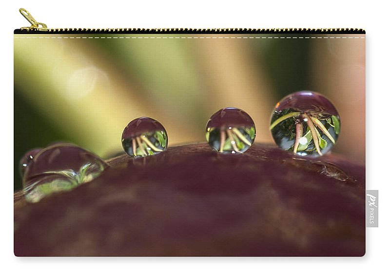 Water Carry-all Pouch featuring the photograph Droplets On An Apple by Richard Kitchen
