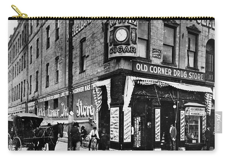 1885 Carry-all Pouch featuring the photograph Drug Store, 1890s by Granger