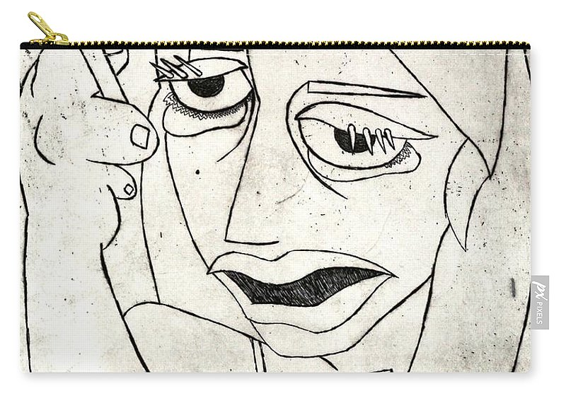 Clay Carry-all Pouch featuring the relief Drunk Girl by Thomas Valentine