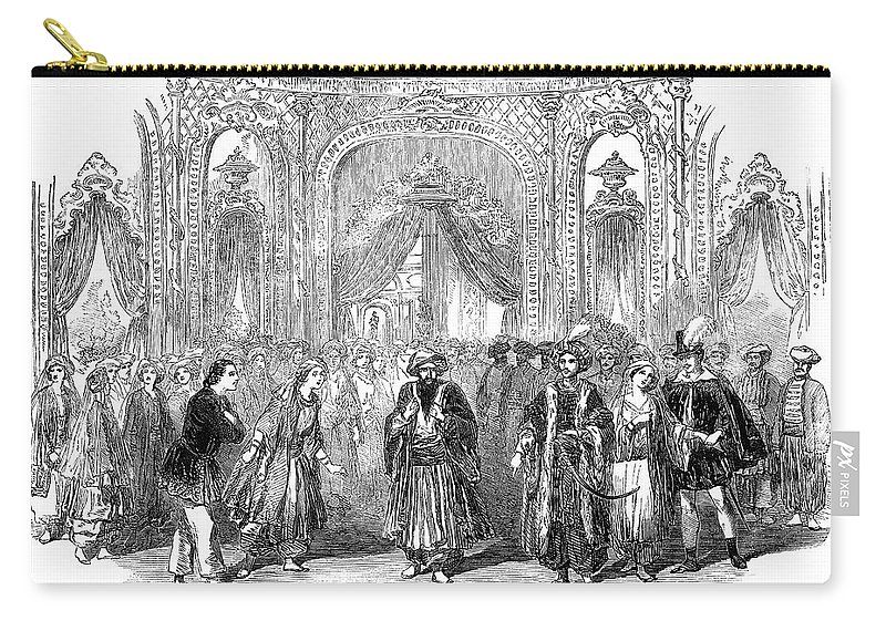 1854 Carry-all Pouch featuring the painting Drury Lane Theatre, 1854 by Granger