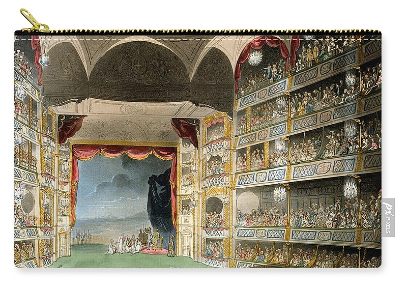Microcosm Of London Carry-all Pouch featuring the drawing Drury Lane Theater by Pugin and Rowlandson