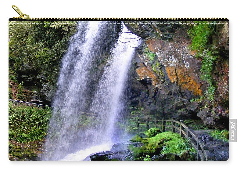 Waterfalls Carry-all Pouch featuring the photograph Dry Falls 2 In Western North Carolina by Duane McCullough