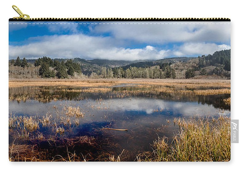 Reflections Carry-all Pouch featuring the photograph Dry Lagoon In Winter Panorama by Greg Nyquist