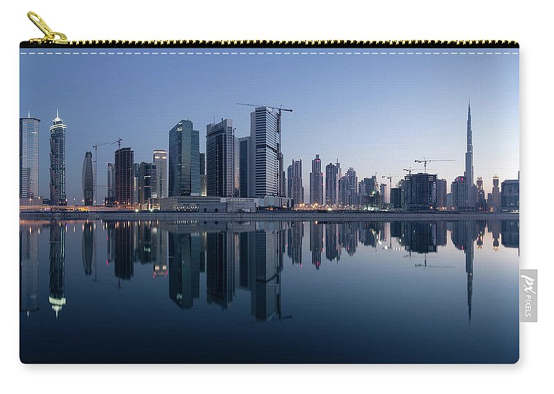 Tranquility Carry-all Pouch featuring the photograph Dubai Business Bay Skyline With by Spreephoto.de