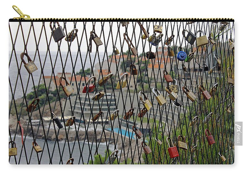 Dubrovnik Love Locks Carry-all Pouch featuring the photograph Dubrovnik Love Locks by Tony Murtagh