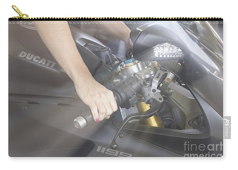 Motorcycle Carry-all Pouch featuring the photograph Ducati Touch V2 by Douglas Barnard