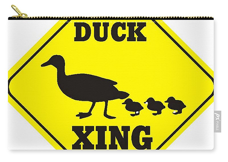 Duck Crossing Sign Carry-all Pouch featuring the digital art Duck Crossing Sign by Marvin Blaine