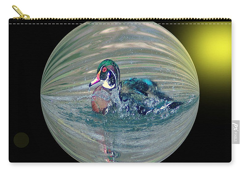 Ducks Carry-all Pouch featuring the photograph Duck In A Bubble by Jeff Swan