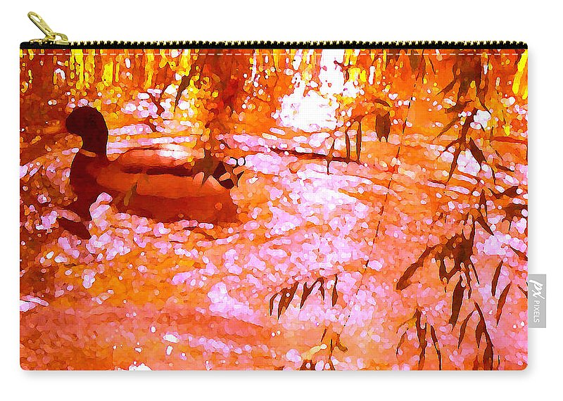 Landscapes Carry-all Pouch featuring the painting Duck In Warm Light by Amy Vangsgard