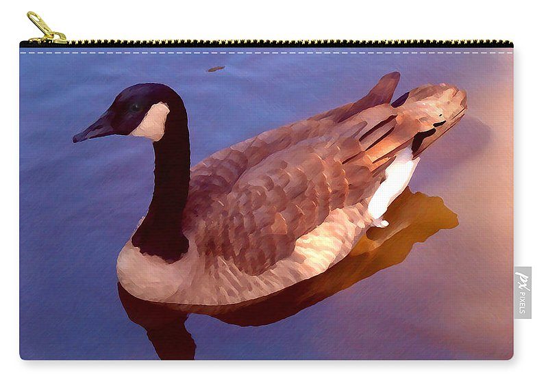 Carry-all Pouch featuring the painting Duck Swimming by Amy Vangsgard