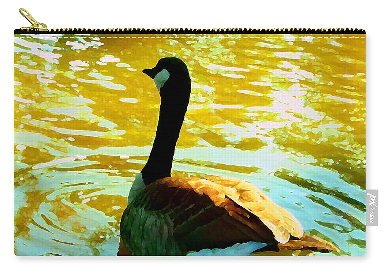 Animal Carry-all Pouch featuring the painting Duck Swimming Away by Amy Vangsgard