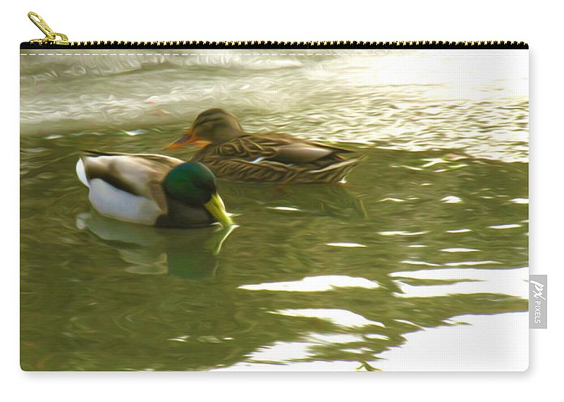 Alpine Pasture Carry-all Pouch featuring the painting Duck Swimming In A Frozen Lake by Jeelan Clark