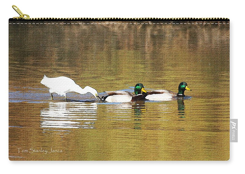 Ducks And Egret Carry-all Pouch featuring the photograph Ducks And Egret by Tom Janca