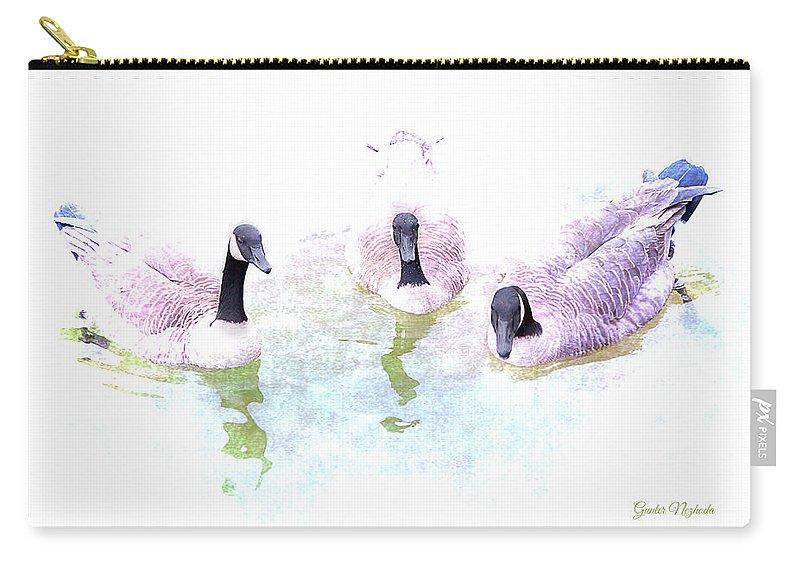 Duck Carry-all Pouch featuring the photograph Ducks by Gunter Nezhoda