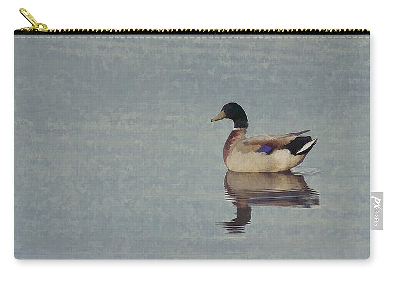 Ducks Carry-all Pouch featuring the digital art Ducks On Blue Lake by Randy Steele